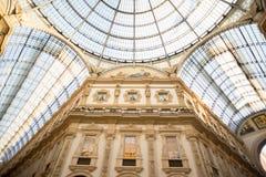 Θόλος γυαλιού Galleria Vittorio Emanuele στο Μιλάνο Στοκ Εικόνες