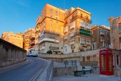 Θόλοι και στέγες στο ηλιοβασίλεμα, Valletta, Μάλτα Στοκ Εικόνες
