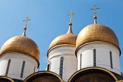 Θόλοι κρεμμυδιών του καθεδρικού ναού της υπόθεσης, Μόσχα Κρεμλίνο στοκ εικόνα