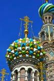 Θόλοι της Ορθόδοξης Εκκλησίας του Savior στο αίμα στοκ φωτογραφία με δικαίωμα ελεύθερης χρήσης