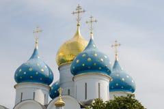 Θόλοι του καθεδρικού ναού υπόθεσης του τριάδα-Sergius Lavra στοκ εικόνες με δικαίωμα ελεύθερης χρήσης
