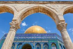 Θόλος του μουσουλμανικού τεμένους βράχου στην Ιερουσαλήμ Στοκ Φωτογραφία
