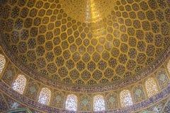 Θόλος Sheikh του μουσουλμανικού τεμένους Lotfollah στο Ισπαχάν Στοκ Φωτογραφίες