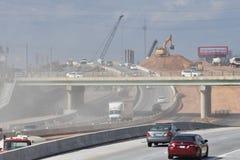 Θύελλα σκόνης στην περιοχή βελτίωσης εθνικών οδών στοκ εικόνες