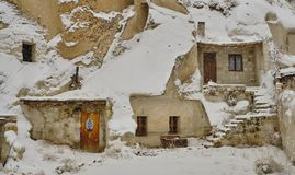θύελλα χιονιού σε Cappadocia στοκ εικόνες