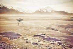 Θύελλα σκόνης με UFO Στοκ φωτογραφίες με δικαίωμα ελεύθερης χρήσης