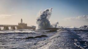 Θύελλα στο λιμενοβραχίονα Στοκ Φωτογραφίες