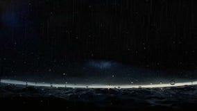 Θύελλα στο ωκεάνιο τη νύχτα μήκος σε πόδηα απόθεμα βίντεο