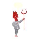 διάβολος κινούμενων σχεδίων με το pitchfork με τη λεκτική φυσαλίδα Στοκ Φωτογραφίες