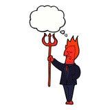 διάβολος κινούμενων σχεδίων με το pitchfork με τη σκεπτόμενη φυσαλίδα Στοκ Φωτογραφία