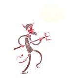 διάβολος κινούμενων σχεδίων με το pitchfork με τη σκεπτόμενη φυσαλίδα Στοκ Εικόνες