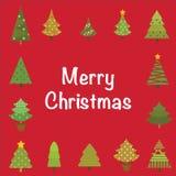 διάνυσμα δέντρων απεικόνισης χαιρετισμού Χριστουγέννων eps10 καρτών διανυσματική απεικόνιση