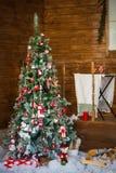 διάνυσμα δέντρων απεικόνισης δώρων Χριστουγέννων σπίτι Στοκ Εικόνες