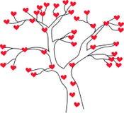 διάνυσμα δέντρων συμβόλων αγάπης απεικόνισης καρδιών Στοκ Φωτογραφία