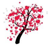 διάνυσμα δέντρων συμβόλων αγάπης απεικόνισης καρδιών Στοκ Εικόνα
