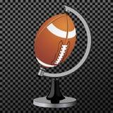 διάνυσμα αμερικανικού π&omicro Σφαίρα αμερικανικού ποδοσφαίρου που απομονώνεται πέρα από το διαφανές υπόβαθρο επίσης corel σύρετε Στοκ Φωτογραφία