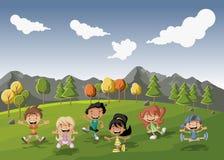 διάνυσμα απεικονίσεων παιδιών κινούμενων σχεδίων γενεθλίων Στοκ φωτογραφία με δικαίωμα ελεύθερης χρήσης
