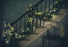 διάνυσμα απεικόνισης γιρλαντών Χριστουγέννων καρτών ανασκόπησης Στοκ Εικόνες