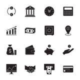 διάνυσμα απεικόνισης εικονιδίων χρηματοδότησης κατάθεσης Απλά εικονίδια χρημάτων καθορισμένα Στοκ φωτογραφία με δικαίωμα ελεύθερης χρήσης