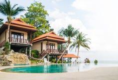 διάνυσμα απεικόνισης ξενοδοχείων παραλιών Θερινή ανασκόπηση στοκ φωτογραφία με δικαίωμα ελεύθερης χρήσης