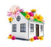 διάνυσμα απεικόνισης σπιτιών λουλουδιών Στοκ φωτογραφία με δικαίωμα ελεύθερης χρήσης
