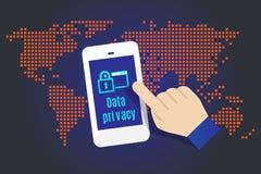 Διάνυσμα: Αφή χεριών σε κινητό με τη λέξη ιδιωτικότητας στοιχείων με το χάρτη μέσα Στοκ Εικόνες