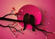 διάνυσμα γάμου αγάπης καρτών πουλιών Στοκ Εικόνα