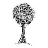 διάνυσμα εικόνας απεικόνισης στοιχείων σχεδίου απλό δέντρο Σε μια άσπρη ανασκόπηση Στοκ Φωτογραφία