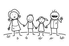 διάνυσμα εικόνων οικογενειακής eps10 ευτυχές απεικόνισης ασφάλτου doodle Στοκ Φωτογραφία