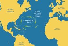 διάνυσμα Η θάλασσα Sargasso στον παγκόσμιο χάρτη διανυσματική απεικόνιση