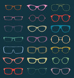 Διάνυσμα καθορισμένο: Αναδρομικές σκιαγραφίες γυαλιών στο χρώμα Στοκ Εικόνα