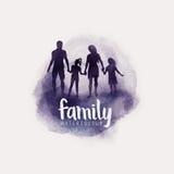 Διάνυσμα οικογενειακού Watercolour Στοκ Εικόνα