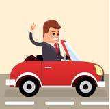 διάνυσμα Οδήγηση επιχειρηματιών Επιχειρησιακό άτομο στο αυτοκίνητο Στοκ Εικόνες