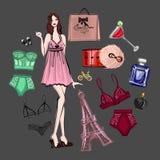 Διάνυσμα που τίθεται με lingerie και το άρωμα Στοκ Εικόνα