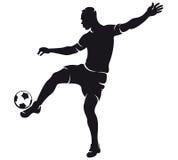 διάνυσμα ποδοσφαίρου σκιαγραφιών ποδοσφαιριστών Στοκ Φωτογραφία