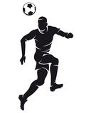 διάνυσμα ποδοσφαίρου σκιαγραφιών ποδοσφαιριστών Στοκ Εικόνες