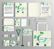 διάνυσμα προτύπων επιχειρησιακής εταιρικό ταυτότητας έργων τέχνης Σύνολο με ένα αφηρημένο αριθμητικό σχέδιο Στοκ Εικόνες