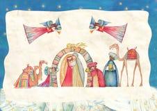 διάνυσμα σκηνής nativity απεικόνισης Χριστουγέννων Ιησούς, Mary, Joseph ελεύθερη απεικόνιση δικαιώματος