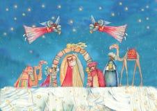 διάνυσμα σκηνής nativity απεικόνισης Χριστουγέννων Ιησούς, Mary, Joseph Στοκ φωτογραφία με δικαίωμα ελεύθερης χρήσης