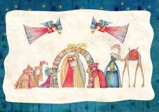 διάνυσμα σκηνής nativity απεικόνισης Χριστουγέννων Ιησούς, Mary, Joseph Στοκ Εικόνες