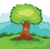 Διάνυσμα σπιτιών δέντρων Στοκ Εικόνα