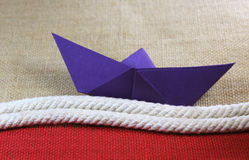 διάνυσμα σχεδίου εγγράφου origami κατασκευής σχεδιαγράμματος βαρκών Στοκ Φωτογραφία