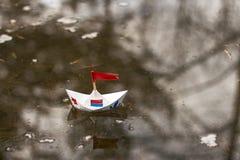 διάνυσμα σχεδίου εγγράφου origami κατασκευής σχεδιαγράμματος βαρκών Στοκ εικόνες με δικαίωμα ελεύθερης χρήσης