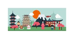 Διάνυσμα σχεδίου πολιτισμού έννοιας εμβλημάτων τοπίου αφισών της Ιαπωνίας Στοκ φωτογραφία με δικαίωμα ελεύθερης χρήσης
