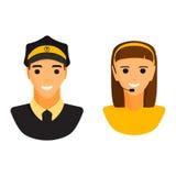 Διάνυσμα χαρακτήρα γυναικών ταξιτζήδων και αποστολέων σοφέρ λιμουζινών Στοκ Εικόνες