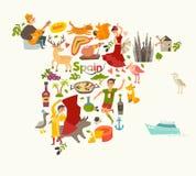 Διάνυσμα χαρτών της Ισπανίας, περίγραμμα Διευκρινισμένος χάρτης της Ισπανίας για τα παιδιά/παιδί Στοκ Εικόνες