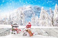 διάνυσμα χιονανθρώπων απεικόνισης Χριστουγέννων ανασκόπησης Στοκ Εικόνα