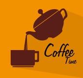 διάνυσμα χρονικών δέντρων σχεδίου cofee τέχνης σας Στοκ Εικόνες