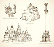 Διάσημα ιστορικά μνημεία του Κίεβου Διανυσματικό σκίτσο Στοκ εικόνα με δικαίωμα ελεύθερης χρήσης