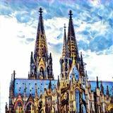 διάσημος Γερμανία καθεδρικών ναών της Κολωνίας κόσμος της ΟΥΝΕΣΚΟ περιοχών ορόσημων κληρονομιάς διεθνής ελεύθερη απεικόνιση δικαιώματος